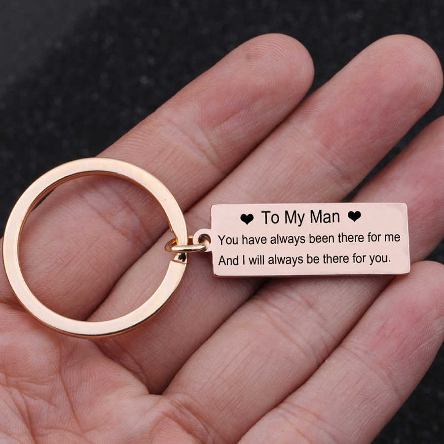To My Man You Have Always Been There For Me And I Will Always Be There For You Engraved Heart Keychain Boyfriend Husband Gifts