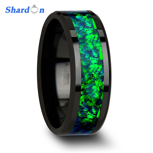Shardon Black Ceramic Wedding Band With Beveled Edges And Green Opal