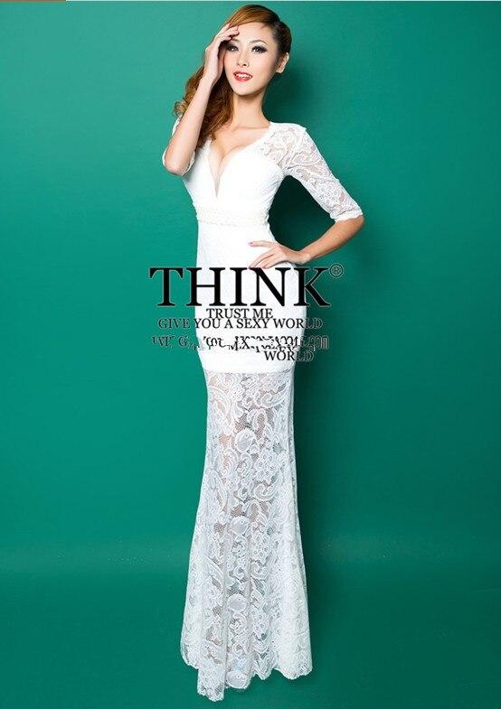 Реалистичная картина кружево с v-образным вырезом Вечерние платья строгое длинное вечернее платье vestido de festa rendo robe de soiree abiti da sera 559 - Цвет: White
