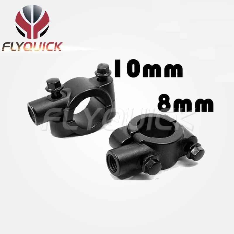 FLYQUICK Brand New Black Motorcycle Handlebar Mirror Mount Universal 10MM 8MM 7/8 inch Aluminum Bracket Holders Adapter Clamp - ONLINE SHOP store