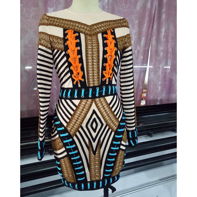 High QUALITY Newest 2017 Paris Fashion Baroque Designer Dress Women s  Luxurious Hand Work Multi Colors Rope Lacing Dress a91a41502953