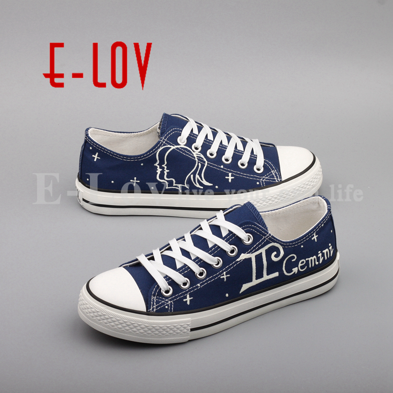 E-LOV Hand Painted Graffiti Horoscope Canvas Shoes Custom Luminous Graffiti Gemini Casual Flat Shoes Women zapatillas mujer e lov hand painted graffiti horoscope canvas shoes custom luminous graffiti gemini casual flat shoes women zapatillas mujer