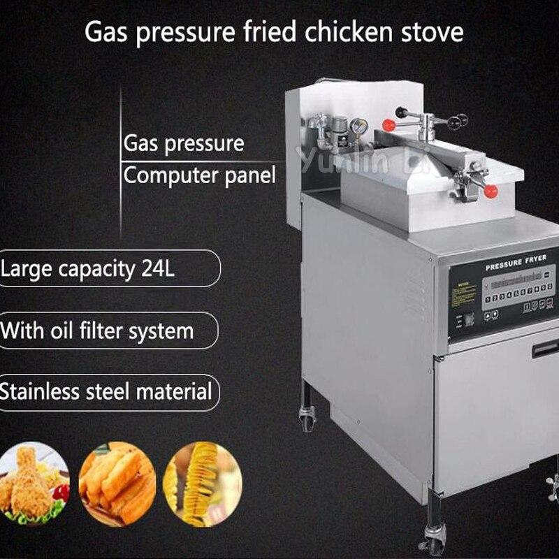 24L Gas Friteuse Digitale KFC Huhn Öl Druck Friteuse mit Ölpumpe ...