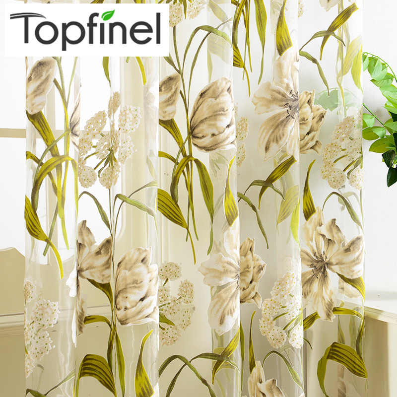 Topfinel Tulle Curtains Tropical Flower Leaf Curtains For Living Room  Kitchen Curtains Bedroom Window Treatment Curtain