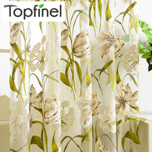 Top Finel Tropical Floral Embroidered Semi Sheer Curtains for Living Room Bedroom Kitchen Printed Flower Window Curtains Tulle цена и фото