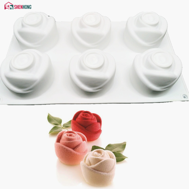 SHENHONG 3D Rose Art Dessert Cake Mold Pop Silicone Mold Mousse Chocolateates Silikonowe Moule թխում խմորեղենի ձևավորման գործիքներ