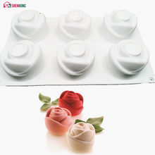 SHENHONG 3D Rose Art Dessert Cake Mold Pop Silicone Mould Mousse Chocolates Silikonowe Moule Baking Pastry Decoration Tools(China)