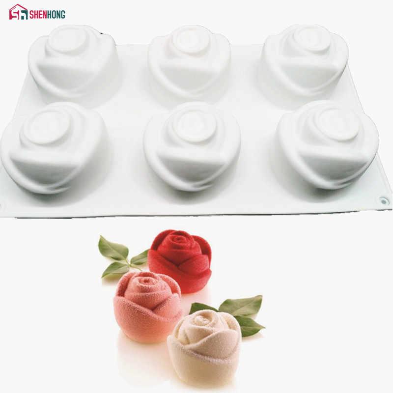 SHENHONG 3D Rose Art Dessert Cake Mold Pop Silicone Mould Mousse Chocolates Silikonowe Moule Baking Pastry Decoration Tools