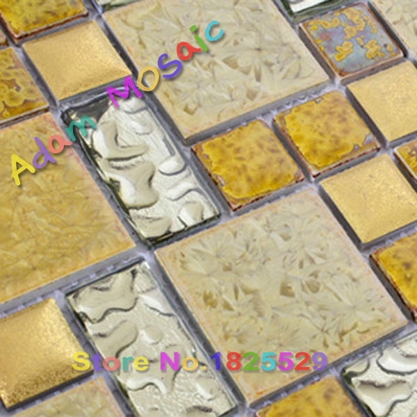 gold ceramic tile fireplace wall art sheet golden glass tiles ...