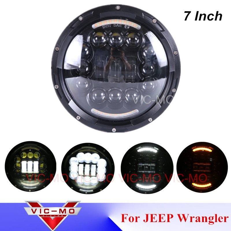 High power headlights 7 Inch Round Led Headlight Angel Eye for Jeep Wrangler JK TJ LJ CJ Rubicon Sahara Freedom Edition Hummer high power 7inch round led headlight for jeep wrangler jk tj lj cj willys wheeler unlimited rubicon hummer land rover defender
