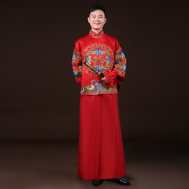 2017 chinese style wedding formal dress show clothing embroidery dragon gown Robe men's clothing evening dress tang suit