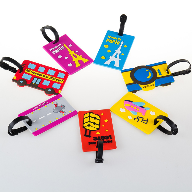 BXJZHTLRZK Travel Equipment Cute Cartoon Luggage Tag PVC Soft Rubber Bag Running Lee Boarding Pass Creative Travel Luggage Tag