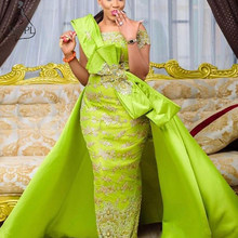 e9d3caff2b0575 Light Green Off Shoulder Lace Mermaid Prom Dresses with Satin Tail Beaded  Bow Dubai Arabic Long Evening Dress Formal Party Gowns