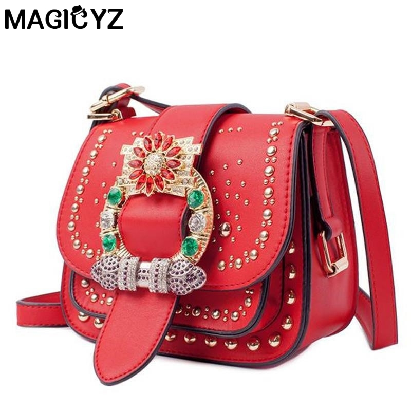 Famous Brand women Shoulder Bag Fashion diamonds Rivets Women s bag small Flap pocket Lady Crossbody