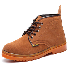 men leisure large size steel toe caps working safety shoes outdoor cow suede leather tooling security ankle boots worker zapatos стоимость