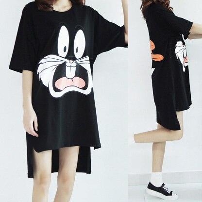 MOSMINT Bugs Bunny Donald Duck Print Cotton T-shirts Women Harajuku Oversized Loose Casual Long Tee Tops Camisas Vestidos