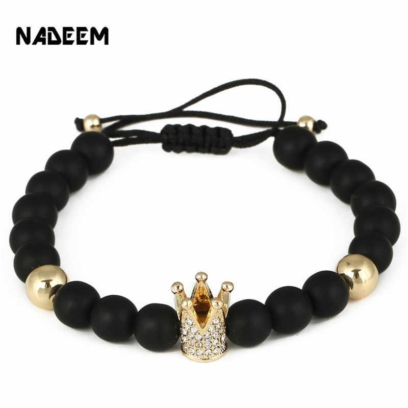c7b9ae053799 Fashion Micro Pave CZ Gold Color Crown Charm Bracelet 8MM Black Matte Stone  Bead Braided Macrame