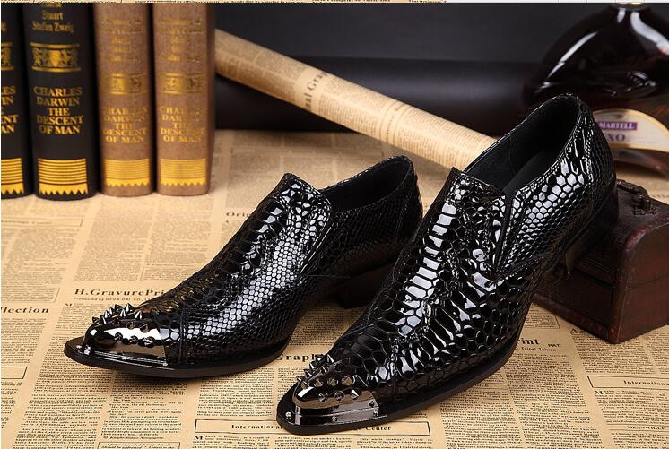 CH.KWOK men Genuine leather Black Metal Toe rivet shoes Party and Wedding men dress shoes oxfords Plus size 46 men's loafers patent leather men s business pointed toe shoes men oxfords lace up men wedding shoes dress shoe plus size 47 48