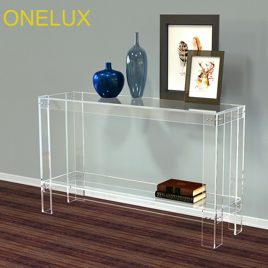 (KD Packed) Clear Acrylic Hallway Desk V Legs,Lucite Console /Writing Table With Addtional Shelf-120W 35D 75H CM one lux plain and elegant clear transparent plexiglass acrylic bedside table with shelf 40w 30d 45h cm lucite nightstand