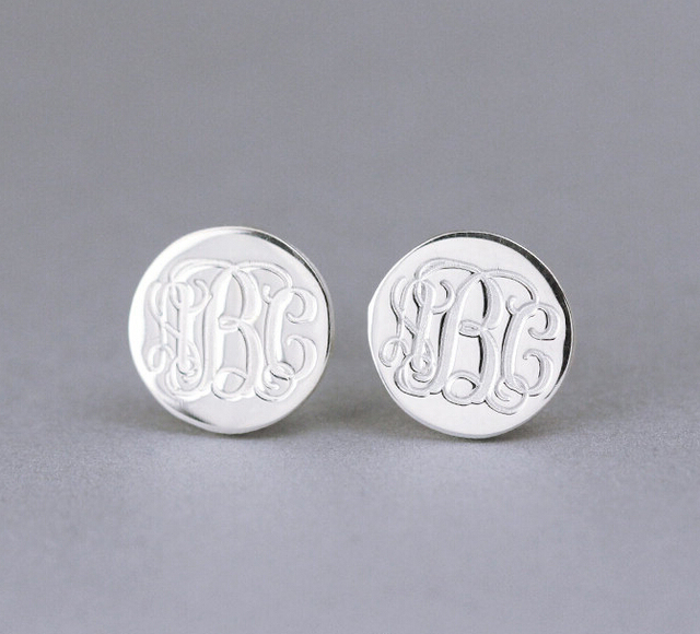 925 Sterling Silver Monogram Stud Earrings Engraved Personalized With Your Initials