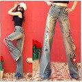 2016 Женщина Летние Свободные Широкую Ногу Джинсы Национальный Тенденция Ручной Вышивки Вышитые Женские Плюс Размер Джинсовые Брюки