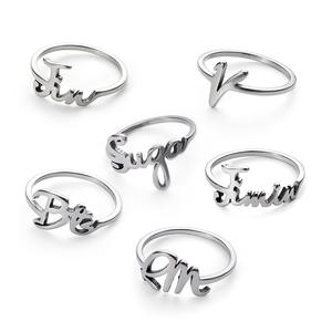 genenic 1Pc BTS Ring Stainless Steel Charms Jewelry