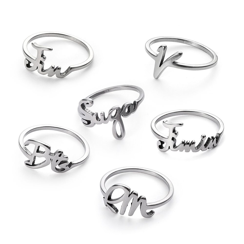 1pc Kpop Jung Kook Ring Popular Stainless Steel Bangtan Boy Jimin V Rap Charms Jewelry Bijouterie Anillos Mujer Halka Bague Products Hot Sale