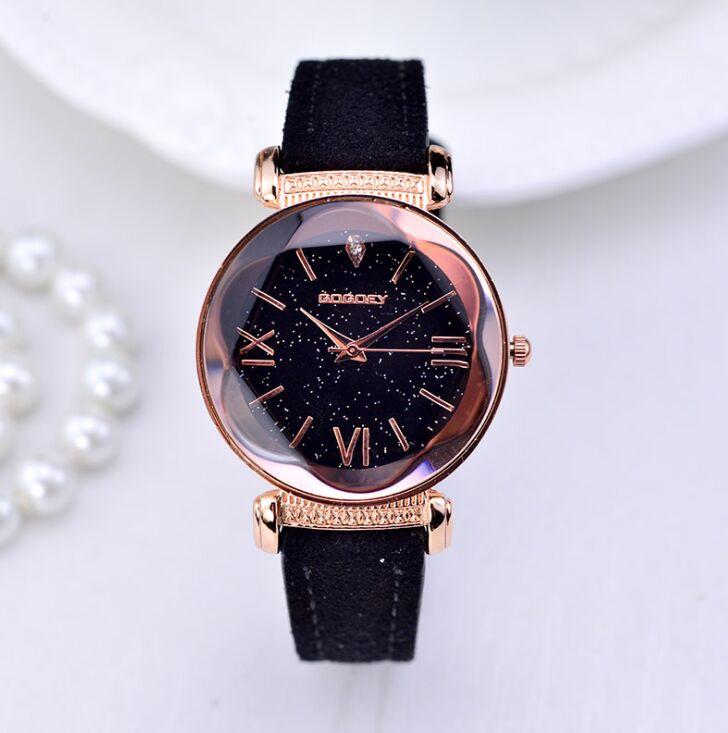 Rose Gold Leather Watches Women ladies casual dress quartz wristwatch