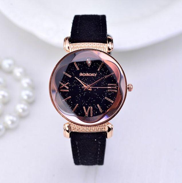 Nova Moda Marca Gogoey Subiu de Couro De Ouro Relógios Mulheres senhoras vestido casual relógio de pulso de quartzo reloj mujer go4417