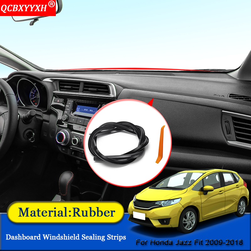 Car-styling Rubber Anti-Noise Soundproof Dustproof Dashboard Windshield Sealing Strips Accessories For Honda Jazz Fit 2009-2018