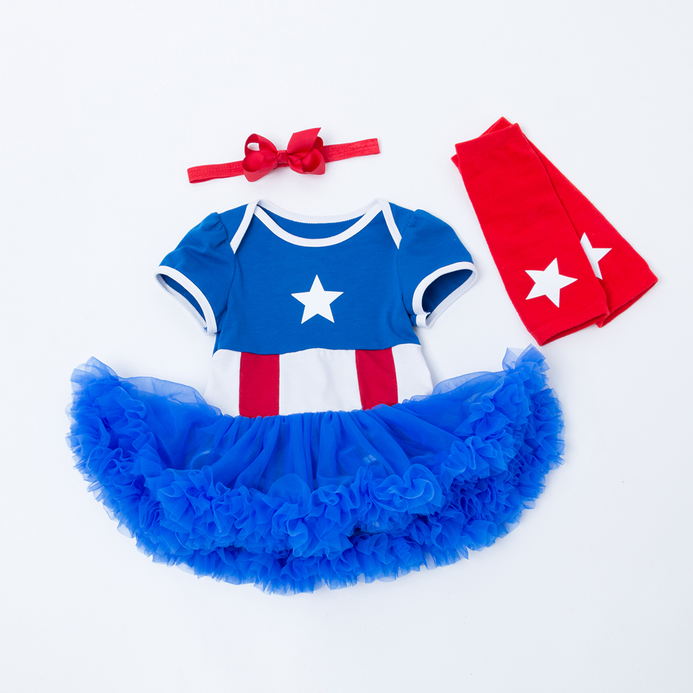 2018 Baby Toddler Girl Clothes Dress Star Print Princess Blue Cosplay Party Pageant Tuutu Dresses Newborn infant Clothing in Dresses from Mother Kids