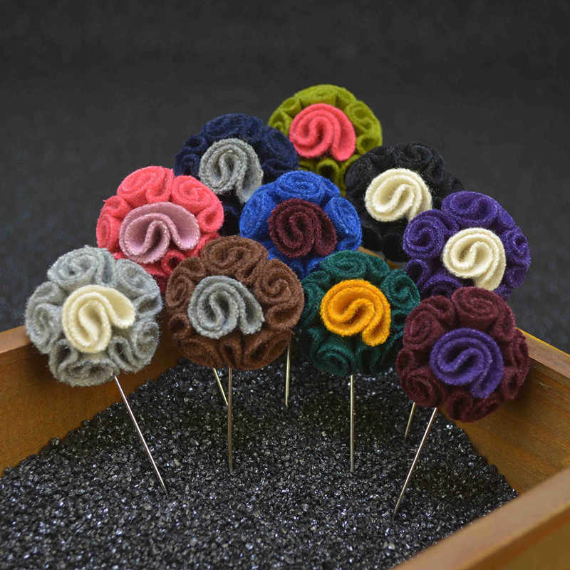 Men Lapel Flower Pin Brooches for Suits Multi Color Male Wedding Flower Corsage Jacket Lapel Pin Brooches for Men Suits
