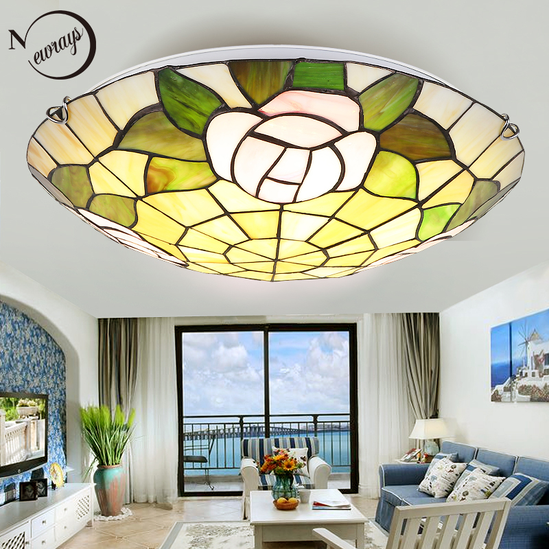 Vintage Europe glass ceiling lamp LED with 2 lights modern classical ceiling light for parlor lobby bedroom restautant office
