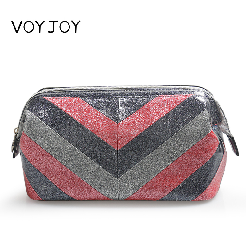 VOYJOY Large Waterproof Women Zipper Wash Bag Portable PU Cosmetic Bag Necessaries Package Travel Pouch Storage Packing Bags