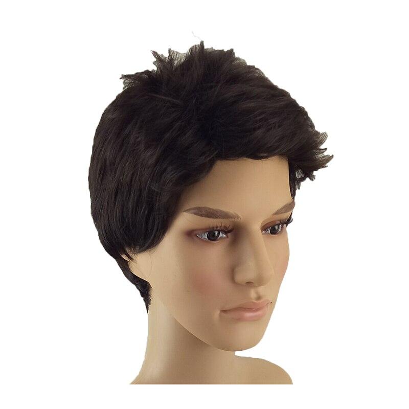 Image 3 - Hairjoy 합성 자연 블랙 가발 남성 여성 짧은 곱슬 머리 계층화 된 머리 레드 브라운 매일 가발 무료 배송합성 없음 레이스 가발   -