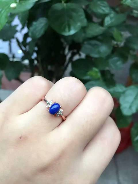 Natural blue lapis lazuli stone Ring Natural gemstone Ring S925 sterling silver trendy Elegant small wings women's party Jewelry