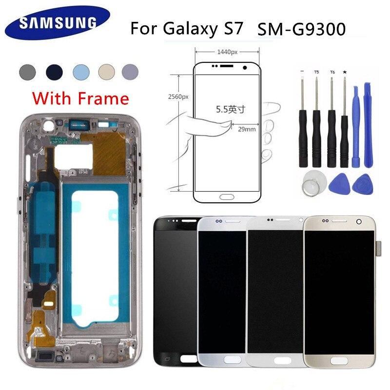 D'ORIGINE Super Amoled Écran LCD Avec Cadre 5.1 Pour Samsung S7 SM-G9300 Écran Tactile Digitizer Assemblée Noir Argent