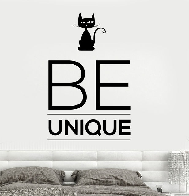 New Wall Vinyl Decal Quotes Be Unique Black Cat Animals Amazing