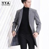Зимние Для мужчин офисные шерстяные смеси Slim Fit трикотаж Формальное длинное пальто воротник с лацканами мужской пальто 3XL манто Homme