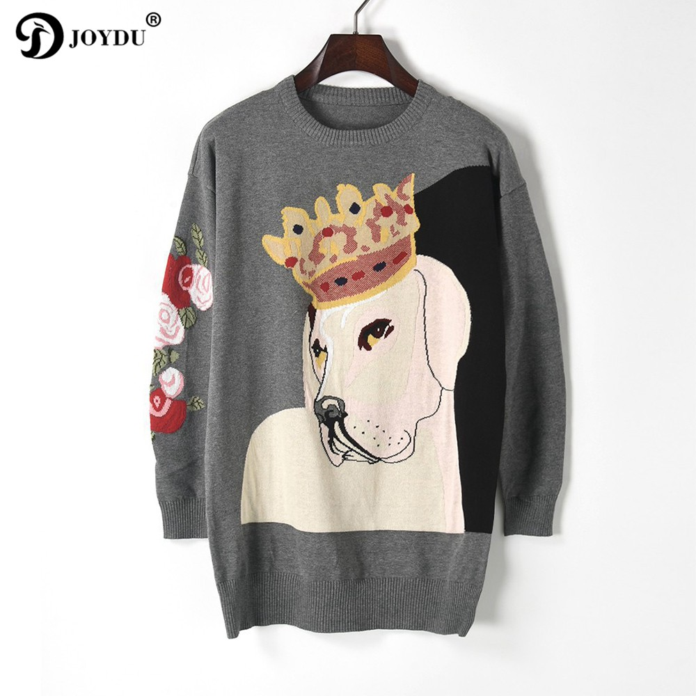 Fashion Design Women Sweaters and Pullovers 2017 Winter harajuku Crown Dog Cool Oversized Knitted Sweater Long Tops Jumper