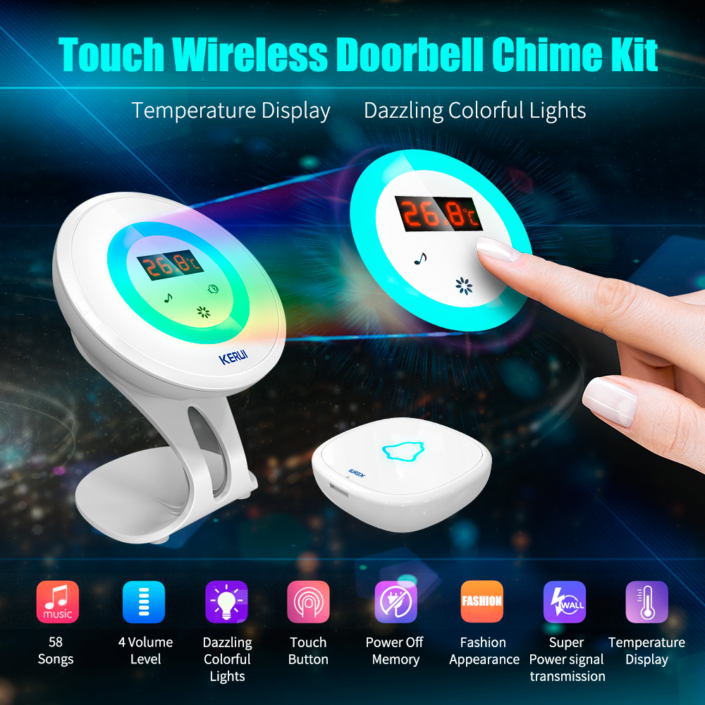 2017 KERUI M536 temperature detector doorbell alarm with the function of welcome burglar alarm doorbell Night light new wired temperature adjustable detector for all the alarm system low high temperature alarm function led display alarm sensors