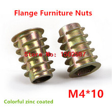 20pcs/lot M4*10 Furniture Nut Zinc Alloy Steel Colorful Plated Flanged Hex Drive Internal Thread Insert Wood Nuts