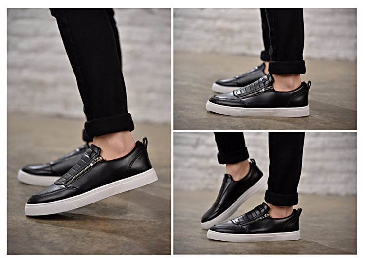 BODNSN Casual Men\'s Skate Shoes Zip Leather Flats 2016 New Solid Round Toe Men\'s Flat Shoes Breathable Fashion Man Shoes PX43 (14)
