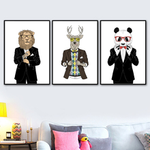 Fashion Lion Deer Panda Vogue Wall Art Canvas Painting Nordic Posters And Prints Animal Pictures For Living Room Home Decor