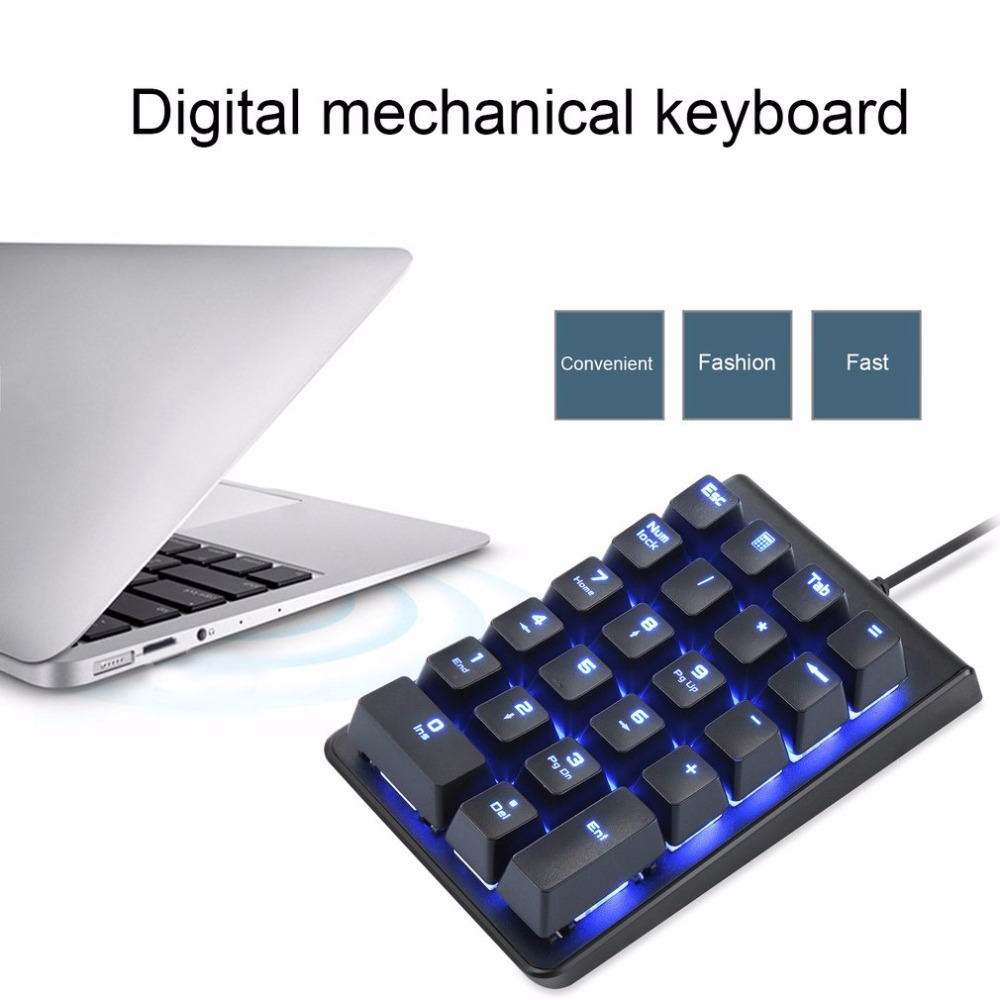 Motospeed K22 Mechanical Numeric Keypad Red Switch Wired Ice Blue Backlight Gaming Keypad 22 keys Mini Portable Numpad