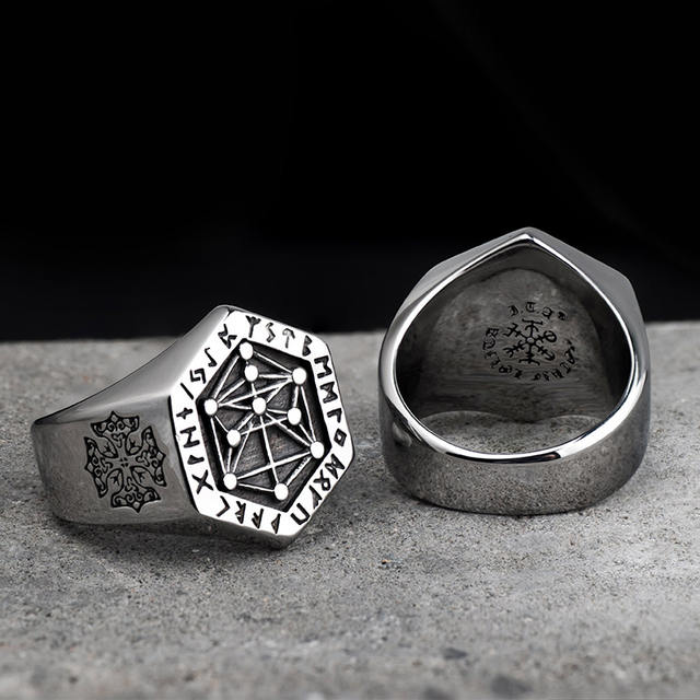 STAINLESS STEEL VIKING RUNE RINGS