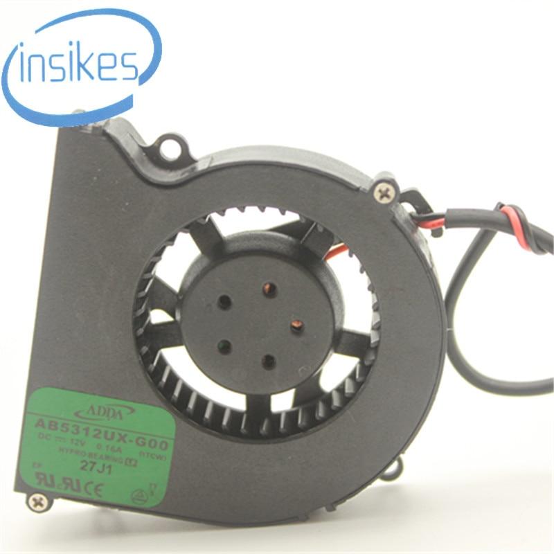 Original AB5312UX-G00 Computer Blower Cooling Fan DC 12V 0.16A 1.92W 5010 50*50*10mm