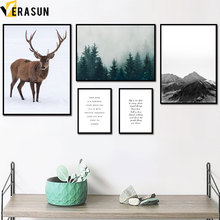 Mountain Forest Wild Goose Deer Snow Wall Art Canvas Painting Nordic Posters And Prints Pictures For Living Room Home Decor