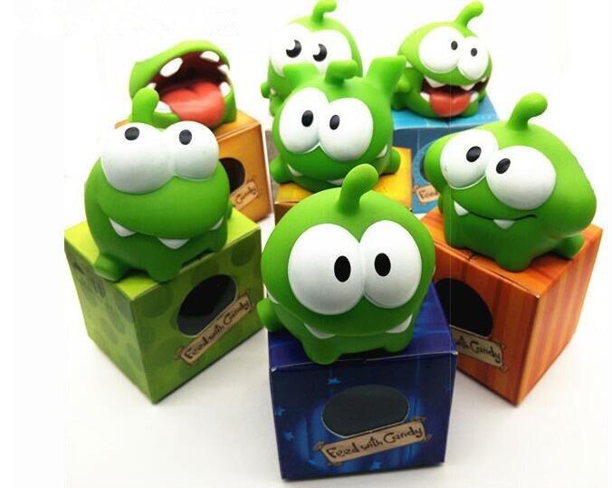 Hot1Pcs corde grenouille vinyle caoutchouc Android jeux poupée couper la corde OM NOM bonbons Gulping monstre jouets Figure avec son pour bébé enfants