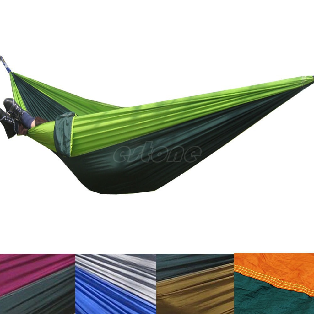 Travel Camping Outdoor Nylon Fabric Hammock Parachute Bed for Double Person furniture size hanging sleeping bed parachute nylon fabric outdoor camping hammocks double person portable hammock swing bed